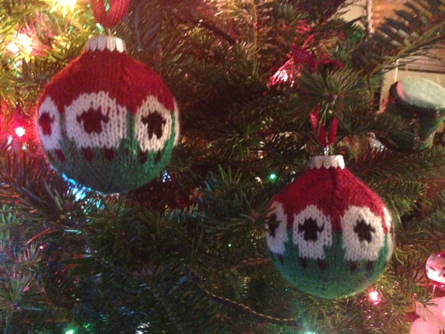 knitted sheep ornaments